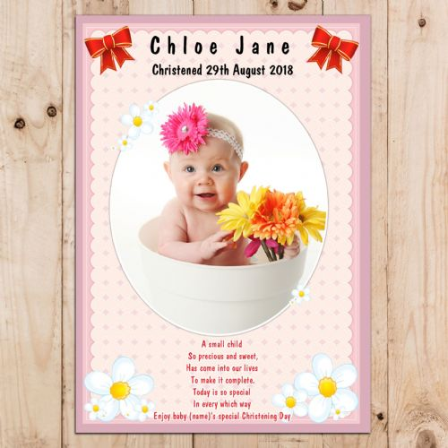 Christening Girls Pink Baptism Celebration PHOTO Poster Banner N16